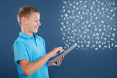 Young boy using tablet,school learning or technology concept — Photo