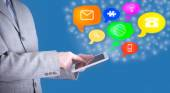 Business man use tablet pc with colorful application icons  — Foto Stock