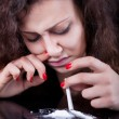 Drug abuse, woman taking drugs, snorting cocaine portrait — Stock Photo #64779681