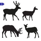 Vector silhouettes of deer — 图库矢量图片
