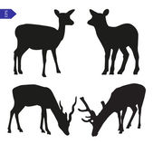 Vector silhouettes of deer — Wektor stockowy