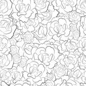 Seamless pattern of black and white roses vector — Stock Vector