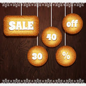 Christmas cookies with the value discount sale vector — Stock Vector