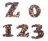 Numbers made of mixed peppercorns — Stock Photo