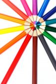 Colorful pencils in radial arrangement — Stock Photo