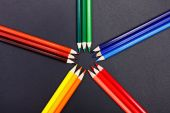 Color hues presented with colorful pencils — Stock Photo