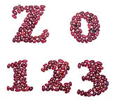 Numbers made of red kidney beans — Stock Photo
