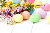 Easter eggs with blooming branch — Stock Photo