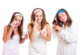 Teen girls primping — Stock Photo