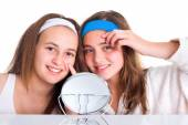 Girls showing the blemishes on theirs skin — Stock Photo