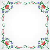 Hungarian embroidery frame with floral decoration — Stockvektor