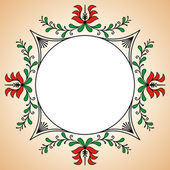 Round frame with Hungarian potter motives — Stock Vector