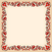 Vintage frame with traditional Hungarian floral motives — Stock Vector