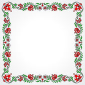 Empty frame with traditional Hungarian floral motives — Stock Vector