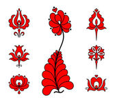 Traditional Hungarian embroidery floral elements — Stock Vector
