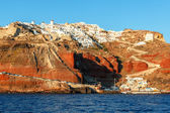 Oia and Ammoudi Beach in Santorini, Greece — Stock Photo