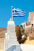Greek flag in the wind — Stock Photo