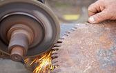 Sharpening saw — Stock Photo