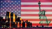USA new york city with american flag — Stock Photo