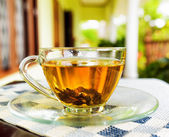 Cup of tea on summer terrace — Stock Photo