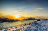 Winter landscape. River flowing in highlands — Stock Photo
