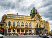 Municipal House at the Republic Square in Prague — Stock Photo