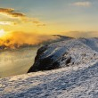 Winter landscape. River flowing in highlands — Stock Photo #59504155