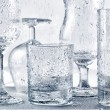 Glassware washing under water jets — Stock Photo #62101519