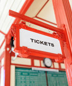 Sign indicating where you can buy tickets — Stock Photo