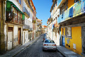 Colorful facades of old houses on the street of the historic cen — Stock Photo