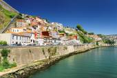 Colorful facades of old houses on embankment of the Douro River  — Stock Photo