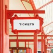 Sign indicating where you can buy tickets — Stock Photo #64855471