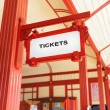Sign indicating where you can buy tickets — Stock Photo #65194613