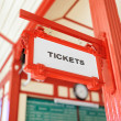Sign indicating where you can buy tickets — Stock Photo #65196195
