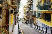 MACAU - JANUARY 30, 2015: The street in the historic centre of M — Stockfoto