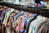 A wide range of men's shirts in store — Stockfoto