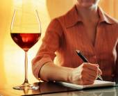 Glass of red wine for tasting in cafe — Stock Photo
