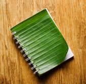 Notebook binding in green banana leaf — Stock Photo