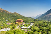 View of the Po Lin Monastery and landscape of Lantau Island, in  — Stock Photo