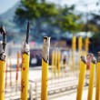 Burning incense sticks during prayer at the Buddhist temple in H — Stock Photo #70628335