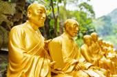 Golden Buddha statues along the stairs leading to the Ten Thousa — Stock Photo