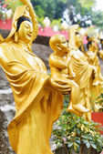 Golden Buddha statues along the stairs leading to the Ten Thousa — Stok fotoğraf