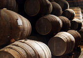 Port wine from the vineyards Douro Valley in Portugal aging in o — Stock Photo