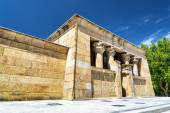 The Temple of Debod, ancient Egyptian temple, in the Parque del — Stock Photo