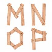 Alphabet Letter M,N,O,P from wood board with clipping path — Fotografia Stock