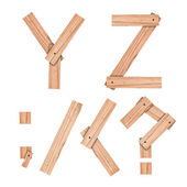 Alfabet brief y, z van houten bord met uitknippad — Stockfoto