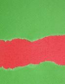 рваной бумаги зеленый и красный фон — Стоковое фото