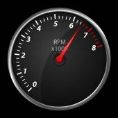 Modern auto speed meter on black,included clipping path — Stock Photo