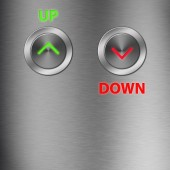 Up and Down metalic button with space — Stock Photo