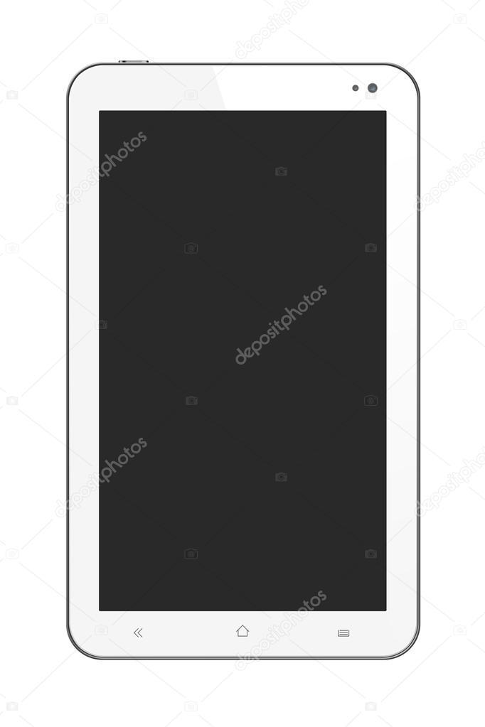 kleine witte tablet pc op witte achtergrond stockfoto. Black Bedroom Furniture Sets. Home Design Ideas